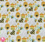 Honey Bees - Litchi Print Leatherette