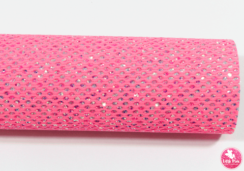 Hot Pink Glitter Mesh Leatherette Full Sheet - (measures 20 x 34cm) larger than standard A4 size Half Sheet -  (measures 20 x 17cm) larger than standard A5 size