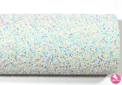 Iridescent White - Chunky Glitter Leatherette