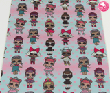 LOL Dolls - Canvas Leatherette Full Sheet - (measures 20 x 34cm) larger than standard A4 size Half Sheet -  (measures 20 x 17cm) larger than standard A5 size (available upon request if in stock, please contact us)