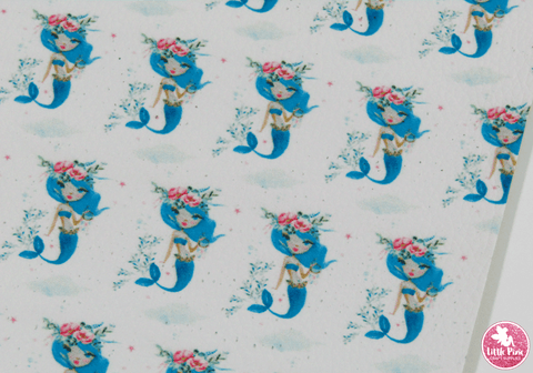 Little Blue Mermaid - Litchi Print Leatherette Full Sheet - (measures 20 x 34cm) larger than standard A4 size Half Sheet -  (measures 20 x 17cm) larger than standard A5 size (available upon request if in stock, please contact us)