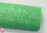 Minty Green Glitz - Chunky Glitter Leatherette.  Choose from a full sheet (larger than A4) or half sheet (larger than A5).  Perfect for all your craft projects, including Hair Bows, Headbands, Earrings, Jewellery accessories, Notebook covers, Make-up Bags, Purses & Pencil Cases and many more! Our printed and plain Faux Leathers can be easily cut by hand with scissors, cutting dies or machines such as Sizzix Big Shot.