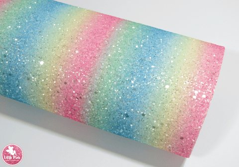 Rainbow Diamond - Pastel - Chunky Glitter Leatherette.  Choose from a full sheet (larger than A4) or half sheet (larger than A5).  Perfect for all your craft projects, including Hair Bows, Headbands, Earrings, Jewellery accessories, Notebook covers, Make-up Bags, Purses & Pencil Cases and many more! Our printed and plain Faux Leathers can be easily cut by hand with scissors, cutting dies or machines such as Sizzix Big Shot.