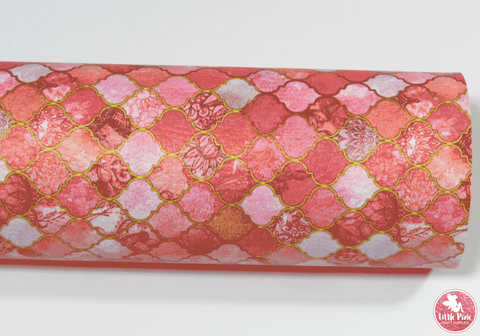 Pink & Coral Mermaid Scales - Litchi Print Leatherette