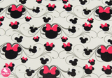 Pink & Black Minnie Mouse on White – Smooth Leatherette.  Choose from a full sheet (larger than A4) or half sheet (larger than A5).  Perfect for all your craft projects, including Hair Bows, Headbands, Earrings, Jewellery accessories, Notebook covers, Make-up Bags, Purses & Pencil Cases and many more! Our printed and plain Faux Leathers can be easily cut by hand with scissors, cutting dies or machines such as Sizzix Big Shot.