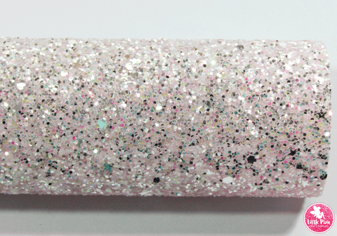 """Pixie Wishes"" Baby Pink - Chunky Glitter Leatherette (with a colour matching backing)"