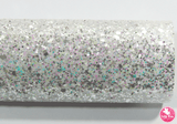 """Pixie Wishes"" White - Chunky Glitter Leatherette (with a colour matching backing)"