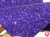 Purple - Chunky Glitter Leatherette Full Sheet - (measures 20 x 34cm) larger than standard A4 size Half Sheet -  (measures 20 x 17cm) larger than standard A5 size