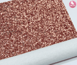 Rose Gold - Chunky Glitter Leatherette Full Sheet - (measures 20 x 34cm) larger than standard A4 size Half Sheet -  (measures 20 x 17cm) larger than standard A5 size