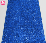 Royal Blue - Chunky Glitter Leatherette.  Choose from a full sheet (larger than A4) or half sheet (larger than A5).  Perfect for all your craft projects, including Hair Bows, Headbands, Earrings, Jewellery accessories, Notebook covers, Make-up Bags, Purses & Pencil Cases and many more! Our printed and plain Faux Leathers can be easily cut by hand with scissors, cutting dies or machines such as Sizzix Big Shot.