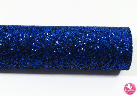 Royal Blue - Chunky Glitter Leatherette Full Sheet - (measures 20 x 34cm) larger than standard A4 size Half Sheet -  (measures 20 x 17cm) larger than standard A5 size