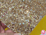 Scattered Sequins - Gold - Chunky Glitter Leatherette (with a colour matching backing)