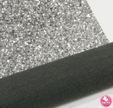 Slate Silver - Chunky Glitter Leatherette Full Sheet - (measures 20 x 34cm) larger than standard A4 size Half Sheet - (measures 20 x 17cm) larger than standard A5 size