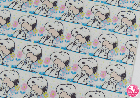 Snoopy - (0.75mm) Litchi Print Leatherette