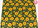 Sunflowers - Black Litchi Print Leatherette