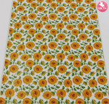 Sunflower Floral - Litchi Print Leatherette Full Sheet - (measures 20 x 34cm) larger than standard A4 size Half Sheet -  (measures 20 x 17cm) larger than standard A5 size (available upon request if in stock, please contact us)