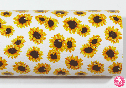 Sunflowers - Litchi Print Leatherette