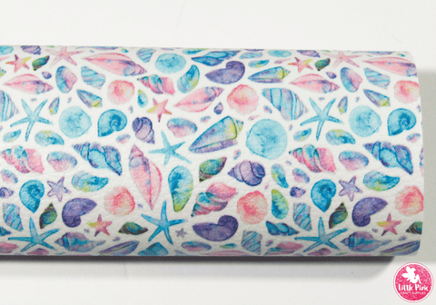 Under the Sea - Pastel Seashells & Star Fish - Litchi Print Leatherette