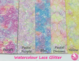 Watercolour Pastel Purple - Lace Glitter Leatherette