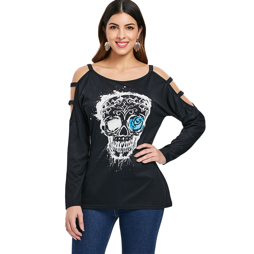 Skull Print Cut Out Full Sleeve T-shirt
