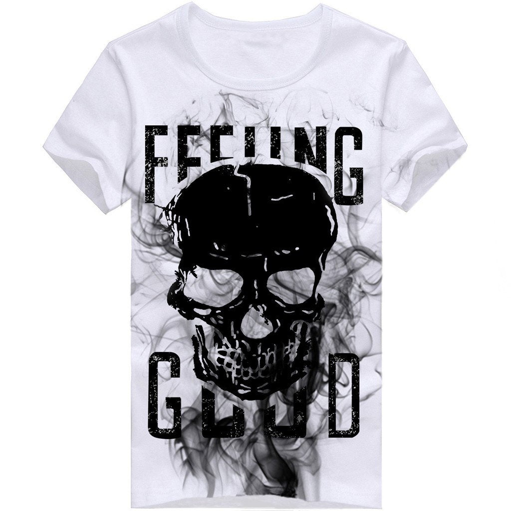 Skull Short Sleeve TShirt Black and White Mens