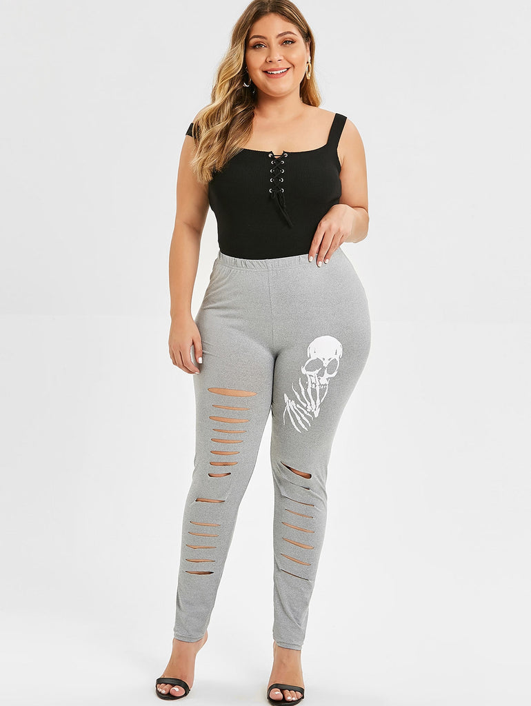 Plus Size Skull Print Ripped Leggings