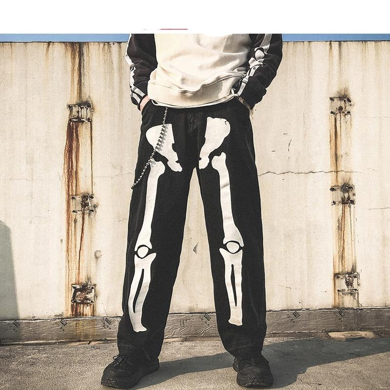 Skeleton Oversized Black Jeans  *2020 Denim Men's Streetwear  *Hip Hop Skeleton Pants  *High Waist Denim