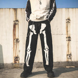 Skeleton Oversized Black Jeans  Hip Hop Skeleton Pants