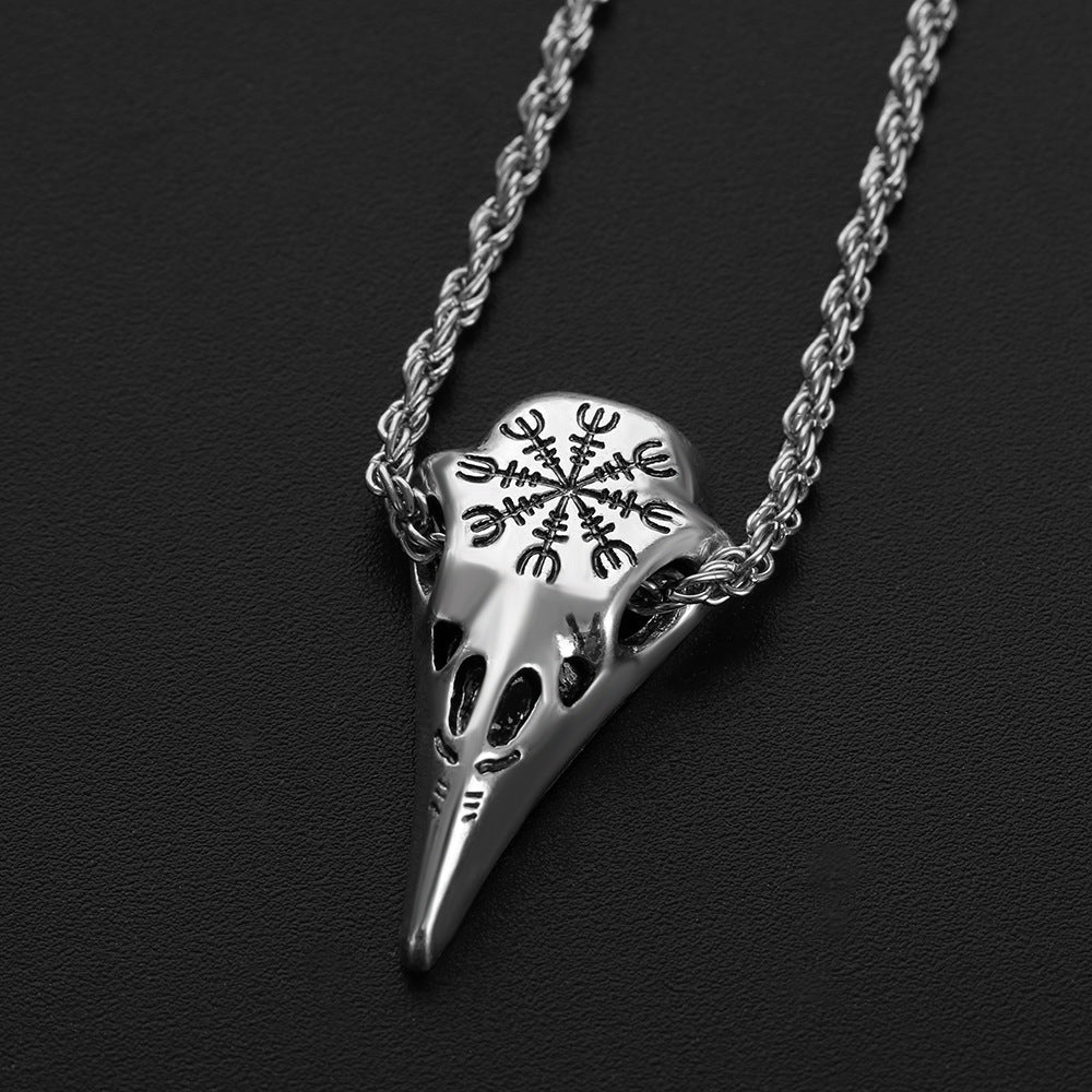Stainless Steel Crow Skull Pendant Necklace