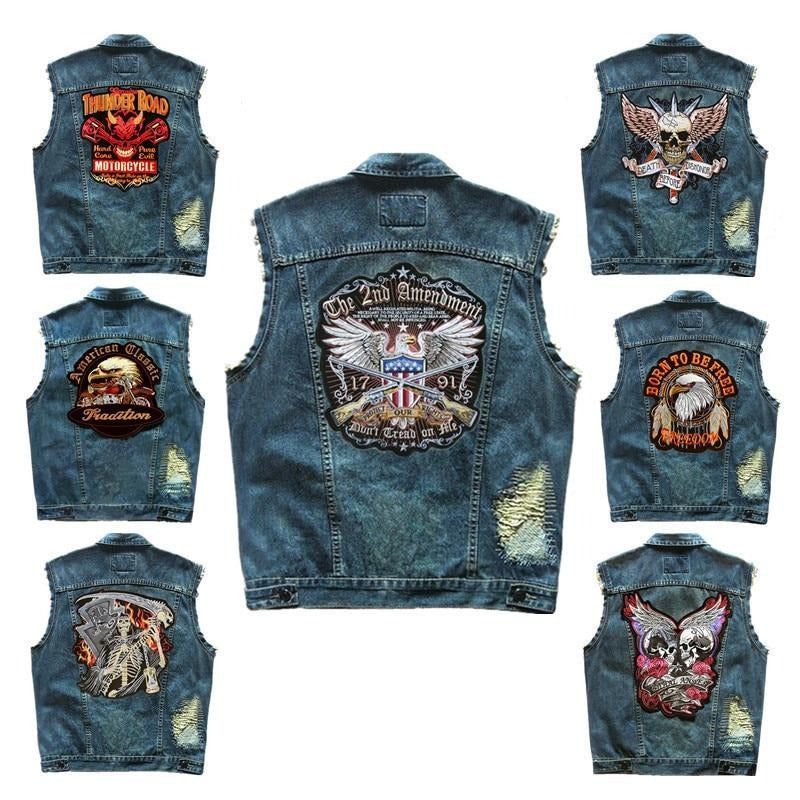 Embroidered Denim vest cowboy blue Jeans Patchwork Motorcycle Biker Jeans Sleeveless jacket punk Cowboy Fashion vest