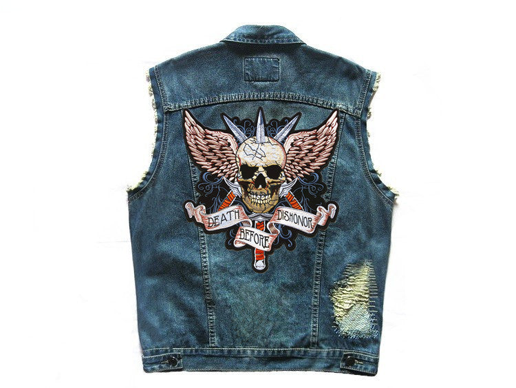 Embroidered Denim  *Patchwork *Biker *Sleeveless Vest