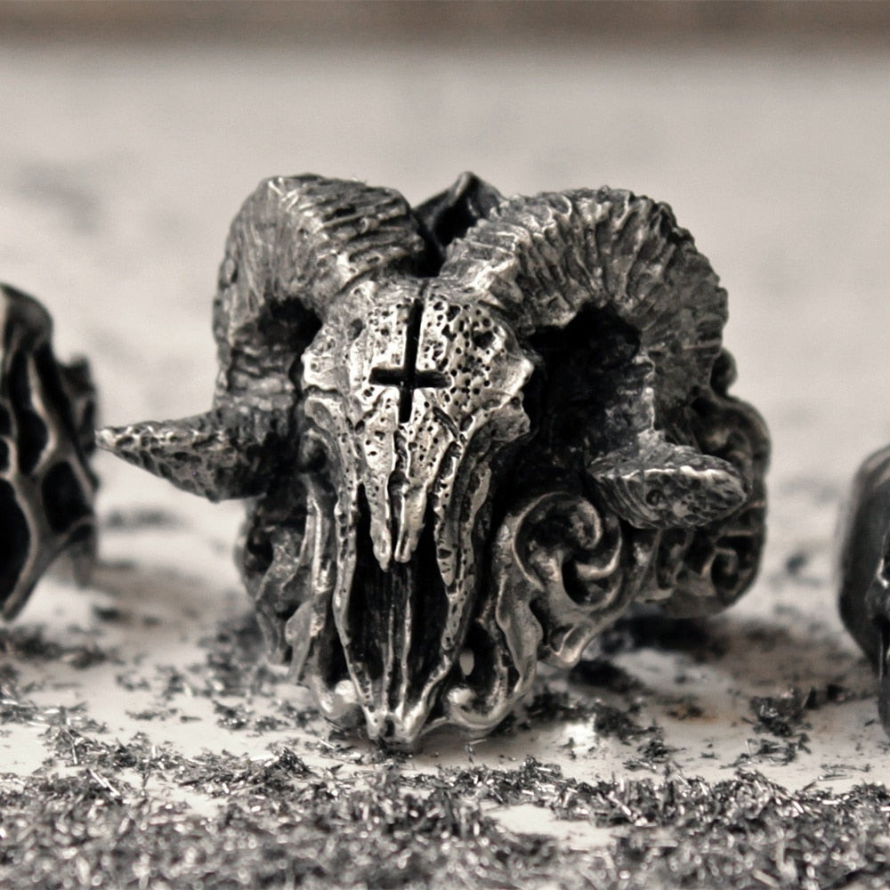 Unique Punk Gothic Satanic Demon Sorath Skull Ring Men 316L Stainless Steel Biker Ring Baphomet Jewelry Gift
