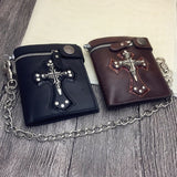 Men's Skull Head Cross Black PU Leather Biker Zipper Wallet with Long Key Chain