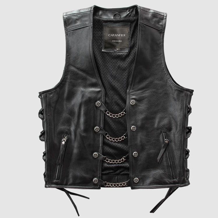 4XL Men's Genuine Leather Vest *Metal Chain *Biker Vest *Motorcycle Sleeveless Jackets