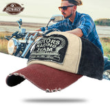 Vintage Washed Denim Cotton Distressed Motorcycle Caps Baseball Hat Face Mask Snapback Motorbike Dad Hat Moto Biker Riding Caps
