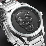 Luxury Skull Men Watches Steampunk  reloj hombre Engrave Stainless Steel Quartz Mens Creative Male Wrist Clock Relogio Masculino
