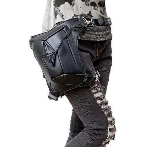 Skull Retro Rock Waist Bags Gothic Shoulder Messenger Bags Men Women Leather Waist Fanny Pack Holster Drop Leg Belt Bag