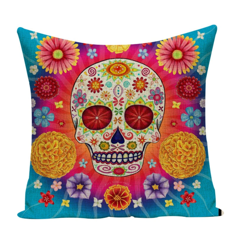 Colorful Square Cushion Covers  *Distinctive Sugar Skull Decor for your Living Room or Bedroom