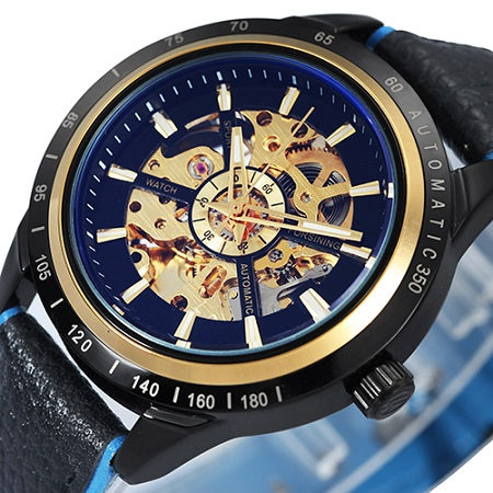 Men's Skeleton Automatic Mechanical Watch Gold Skeleton Vintage Top Brand Luxury
