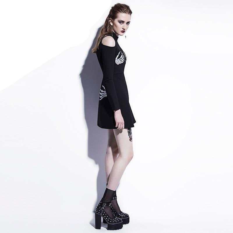 Gothic Dress *Slim  A-Line *Black Skull