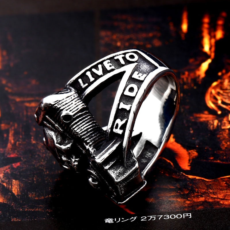 BEIER new arrive 316L Stainless Steel ring high quality  Punk skull biker for men fashion Jewelry gift BR8-668
