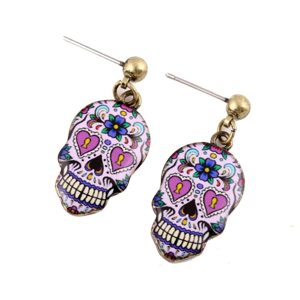 Women's Earrings Collection 2019 Sugary-sweet whimsical skull Earrings celebrate Mexican Day of the Dead Halloween Sugar Skull Earring