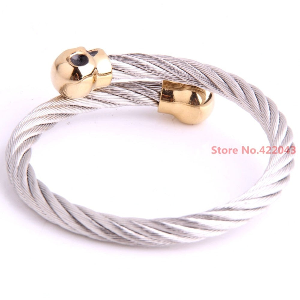 Luxury Stainless Steel Twisted Cable Wire Skull Bracelet Cuff Bangle Bracelets For 22.5mm Jewelry