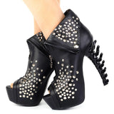LF80632 Peep Toe Punk Zip Stud Skull High-top Bone Heel Platform Sandal Ankle Boot Black