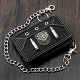 Men's Leather Wallet Biker Trucker Zipper Card Holder Purse w/ Safe Chain