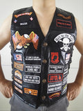 Mens Black Genuine Leather Motorcycle Vest w/ 42 Patches US Flag Eagle Biker Vests S-3XL