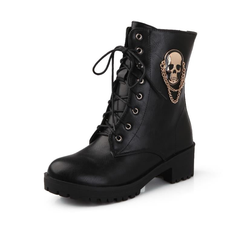 Ankle Boots for Women  *Skull Lace up Platform Shoes