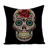 Colorful Square Pillow cover Sugar Skull Decor Living Room Customized Cushion Linen Print Car Seat Cover Custom Cushion cover