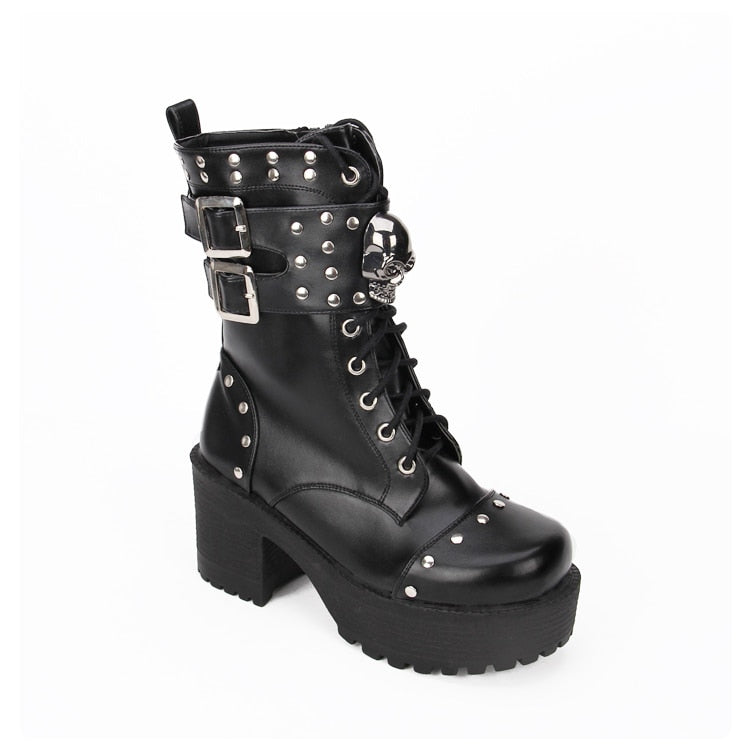 Steampunk Women Leather Rivets Boots Lolita Girls Shoes Punk Skull Boots Winter Black Thick Bottom Boots With Buckles