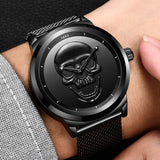 Men Watch Top Brand Casual Fashion 3D Skull Stainless Steel Waterproof Military Sports man Wriswatch Relogio Masculino